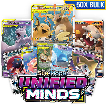 Bulk 50x <b>Unified Minds</b> Booster Pack - Pokemon TCG Online Codes