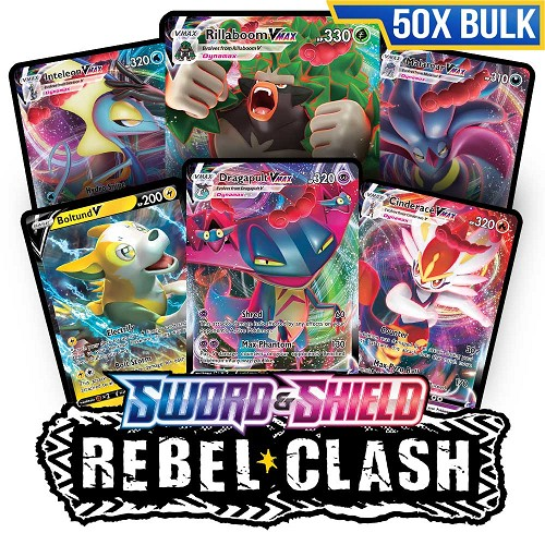 Bulk 50x <b>Rebel Clash</b> - Pokemon TCG Codes